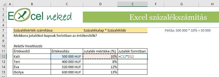 súlycsökkenés százalékos Excel táblázat)