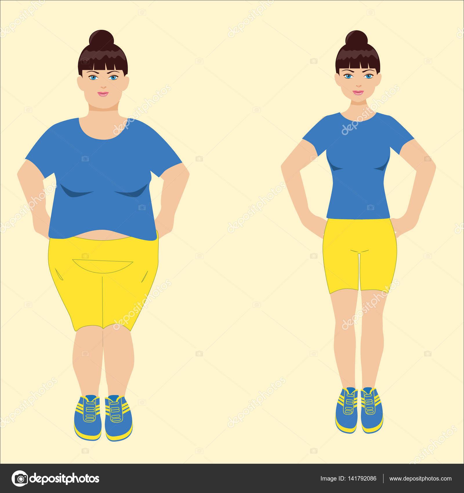 FAT és slim nő, előtti és utáni fogyás — Stock Illusztráció
